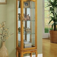 Oak finish wood curio cabinet with glass sides and door