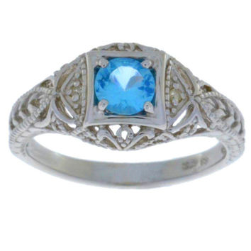 Blue Topaz & Diamond Round Ring .925 Sterling Silver