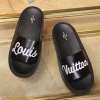 LV Louis Vuitton Women's Fashion Trendy Slippers F Black