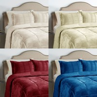 Lightly Quilted Micro-plush Blanket Set Queen