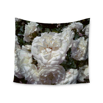 "Julia Grifol ""Flores Blancas"" White Nature Wall Tapestry"