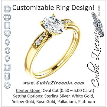 Cubic Zirconia Engagement Ring- The Ruth (Customizable 7-stone Oval Cut Style with Vintage Filigree)