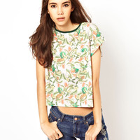 Bellfield Tropical Print Crop T-Shirt