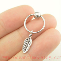 cute leaf Tragus Earring Jewelry,leaf Cartilage Hoop,simple Earring ear Helix Cartilage jewelry,oceantime