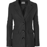 LE3NO Womens Classic Fleece Single Breasted Coat Jacket with Pockets (CLEARANCE)