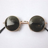 Vintage 90s NOS Dead Stock Circle Sunglasses w Gold Tone Frame - John Lennon/Seapunk/Grunge/Acid House/Rave Culture