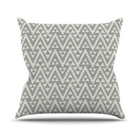 "Amanda Lane ""Geo Tribal Gray"" Grey Tribal Throw Pillow"