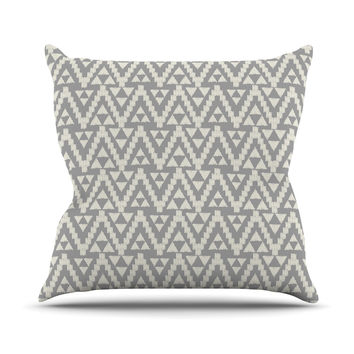 "Amanda Lane ""Geo Tribal Gray"" Grey Tribal Outdoor Throw Pillow"