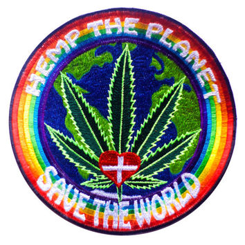 Hemp the planet - save the world patch marihuana healing medical cannabis embroidery 7.5 inch