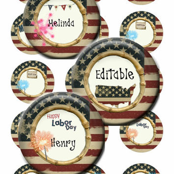 RED, WHITE and BLUE - 1.0 inch Circles - Digital Collage Sheet Artwork for Editable, Bottle Caps, Scrapbooking, Arts & Crafts (dp29)