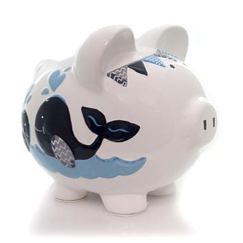 Bank BLUE DOUBLE WHALE PIG BANK Ceramic Save Money Ocean 36856