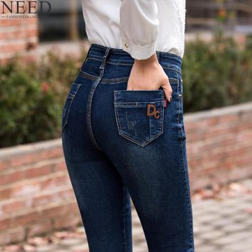 2018 High Waist Jeans For Women Jeans With High Waist Skinny Jeans Woman Stretch Straight Mom Jeans Plus Size Denim Trousers