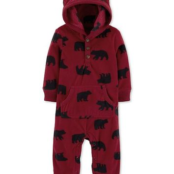 Carter's Baby Boys 1-Pc. Bear-Print Hooded Coverall Kids - All Baby - Macy's
