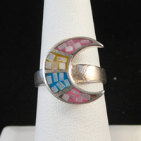 Vintage Sterling Silver Inlay Moon Ring by MadJacksJewelry on Etsy