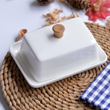 White Ceramic rectangular butter dish tableware