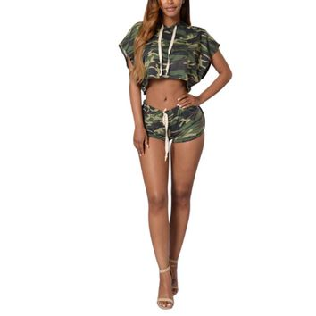 KTW Womens Camo Crop Hoodie And Shorts