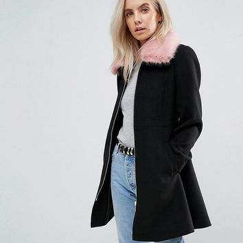 ASOS PETITE Skater Coat With Pink Faux Fur Collar at asos.com