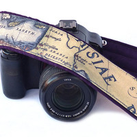 Vintage Map Camera Strap. Dark Purple. Holy Land Camera Strap. Nikon Canon Camera Strap. DSLR Camera Strap. For Him, For Her, Etsy Gifts