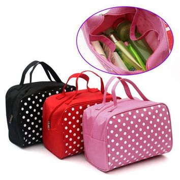 ESBONHS Fashion Lady Organizer  Multi Functional Cosmetic Storage Dots Bags Women Makeup Bag With Pockets Toiletry Pouch