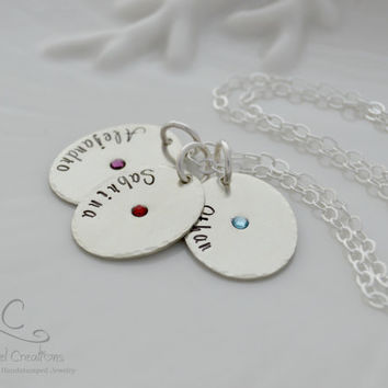 Hand Stamped Jewelry for Mom, Personalized Names with Birthstones Necklace, Sterling Silver, Personalized Gifts