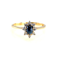 14k Yellow Gold Cabochon Star Sapphire Halo Ring