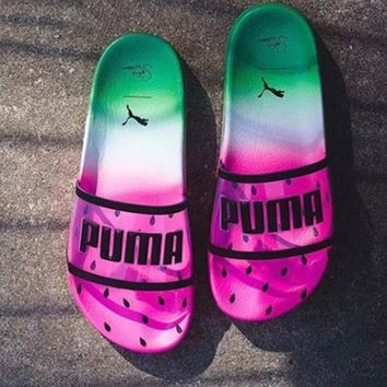 Puma x Sophia Webster Jelly Transparent Fruit Watermelon Slippers   Sandal Rose red/Green