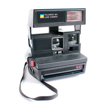 Vintage Polaroid Camera - Black 1980s 640 Land Camera 600 Series / Instant Flash Photography