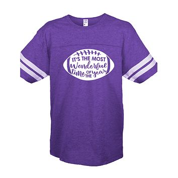 Sassy Frass Most Wonderful Time of the Year Football Season Purple Vintage Jersey Girlie Bright T Shirt