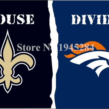 NFL New Orleans Saints Denver Broncos House Divided Flag Banner 3x5ft 150X90cm Polyester Flag Banner, free shipping