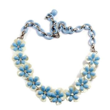 Vintage Baby Blue and White Celluloid Rhinestone Flower Necklace