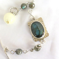 Labradorite gemstone bracelet with blue flash, artisan silver bracelet, gift for her