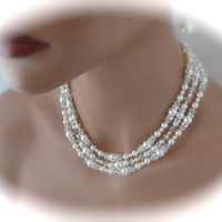Bridal Necklace Wedding Jewelry Pearl Multistrand Necklace and Earrings Set Bridal Jewelry