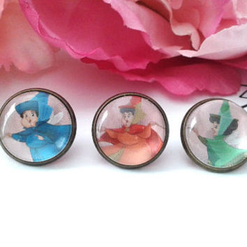 3 Little Fairy Godmothers Stud Earrings - Studs - Earrings - Fake Plugs - Plugs - Faux Plugs - Fairies - Godmothers - Fae