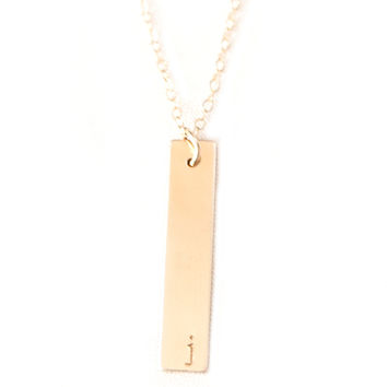 Initial Bar Necklace- Vertical