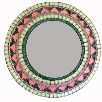 Round Wall Mirror // Bronze and Green // Mixed Media Mosaic