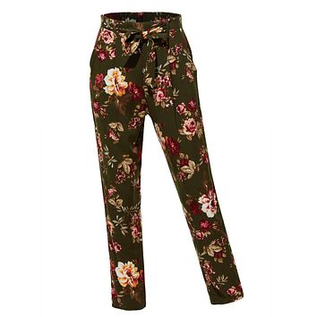 LE3NO Womens Floral Print High Waisted Loose Casual Long Peg Trouser Pants