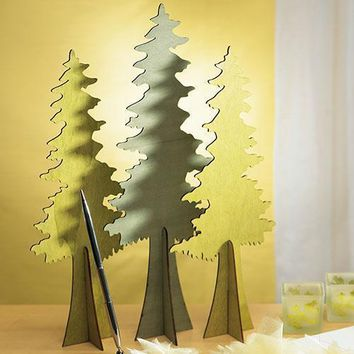 Wooden Die-cut Evergreen Trees - Set of 2 Assorted (Pack of 1)