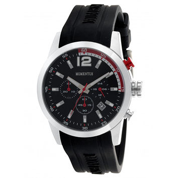 Momentus FS312S-04RB Men's Functional Sport Black Dial Black Rubber Strap Chrono Watch