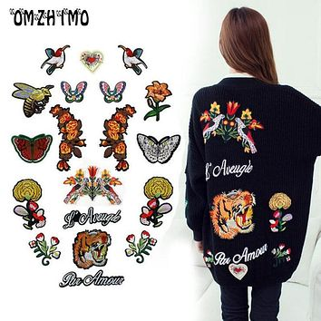 Tiger Head Letter Butterfly Flower Bee Bird Embroidery Patch Applique Sew On Clothes Coat Accessory