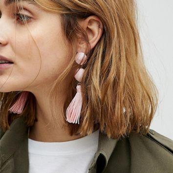 ASOS Wrapped Bead & Tassel Earrings at asos.com