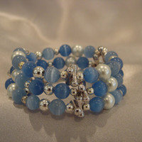 Blue Mexican Opal & Fresh Water Pearl Memory Wire Bracelet