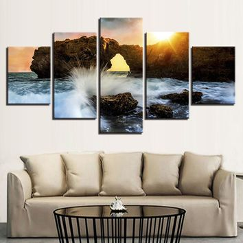 5 Panel Sunset Ocean Seascape Keyhole Rock Pfiefer ? Wave Wall Art Print Picture