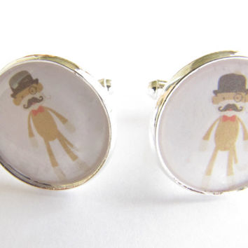 Monkey cufflinks-- mens-fathers,dad-sock monkey,top hat,mustache