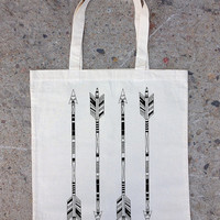 Tote Bag - Hand Drawn Arrows - Screen Printed Tote
