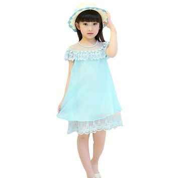 Girls Party and Wedding Dresses Summer Baby Girls Costume Kids Dress with Pearls Reine Fes Neiges Lace Princess Dress 3-7Y