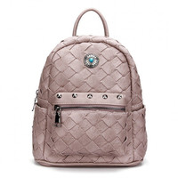 Pale Pink Woven Mini Backpack