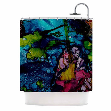 "Abstract Anarchy Design ""Sharks Cove"" Teal Balck Shower Curtain"