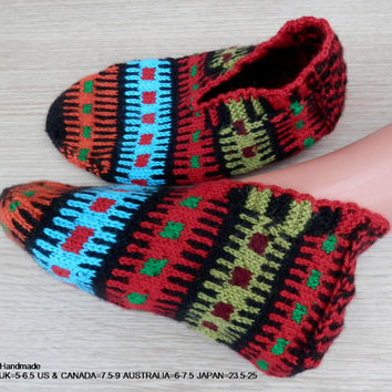 Turkish hand knitted women's fair isle warm slippers, slipper socks.