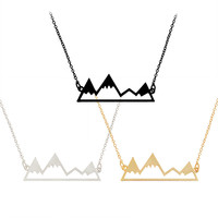 Stylish Gift Mountain Peak Hollow Out Necklace [10893370575]