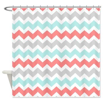 Coral Aqua Grey White Chevron Shower Curtain